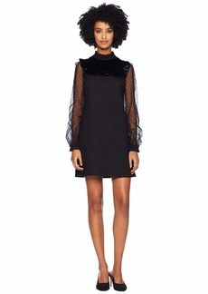 RED Valentino Ponte Jersey Point D'Esprit and Velvet Dress