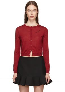 RED Valentino Red Cashmere & Silk Cropped Cardigan