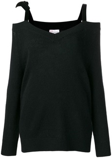 RED Valentino RED (V) velvet ribbon cold shoulder sweater