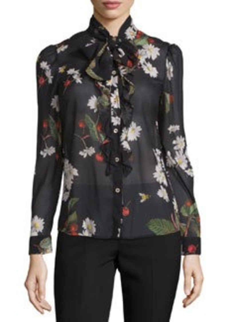 RED Valentino Tie-Neck Flowers & Cherries Chiffon Blouse