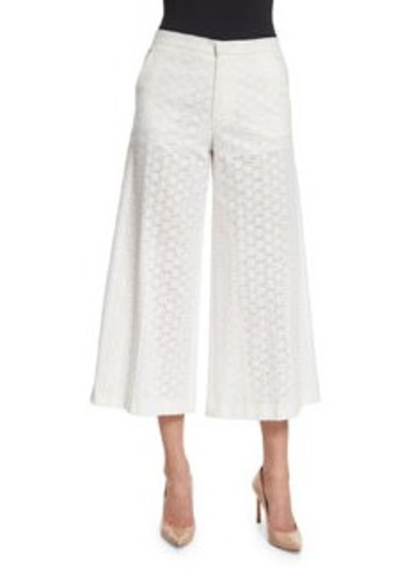 RED Valentino Wide-Leg Cropped Cotton Lace Pants