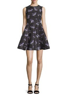 RED Valentino Violet-Print Faille A-Line Dress