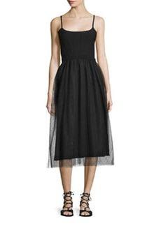 RED Valentino Sleeveless Combo Midi Dress