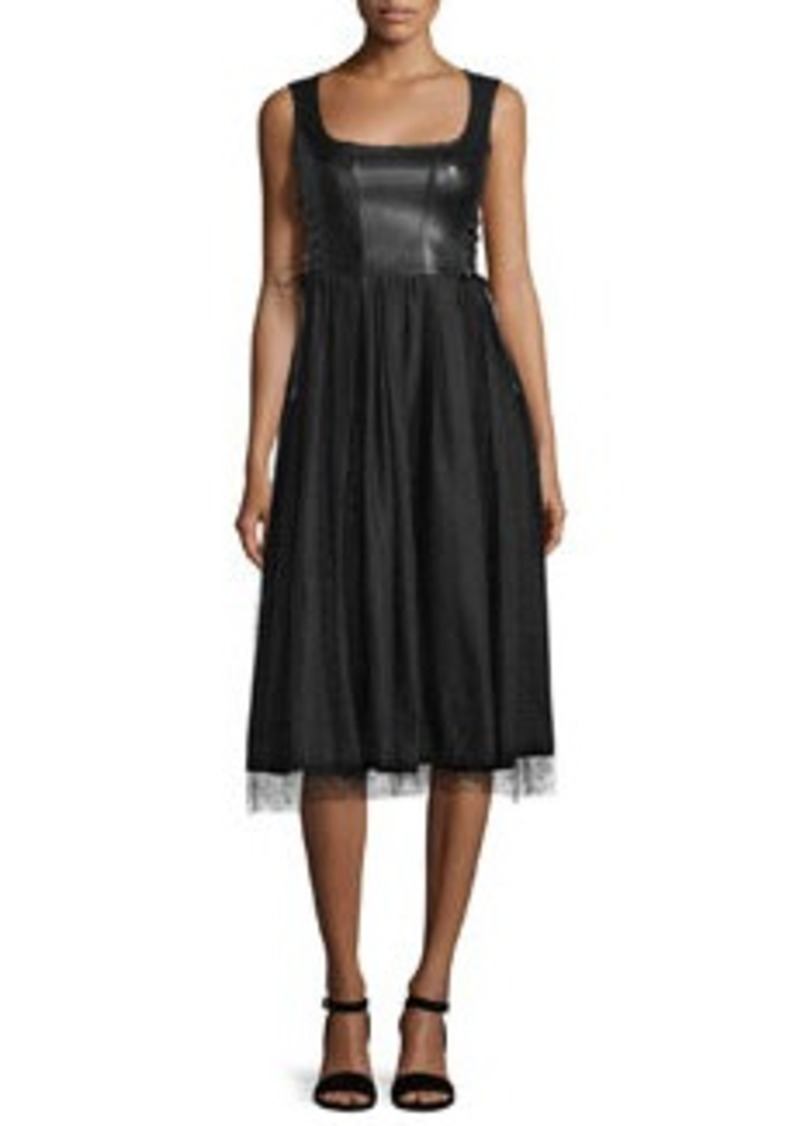 RED Valentino Sleeveless Leather and Point d'Esprit Skirt Dress