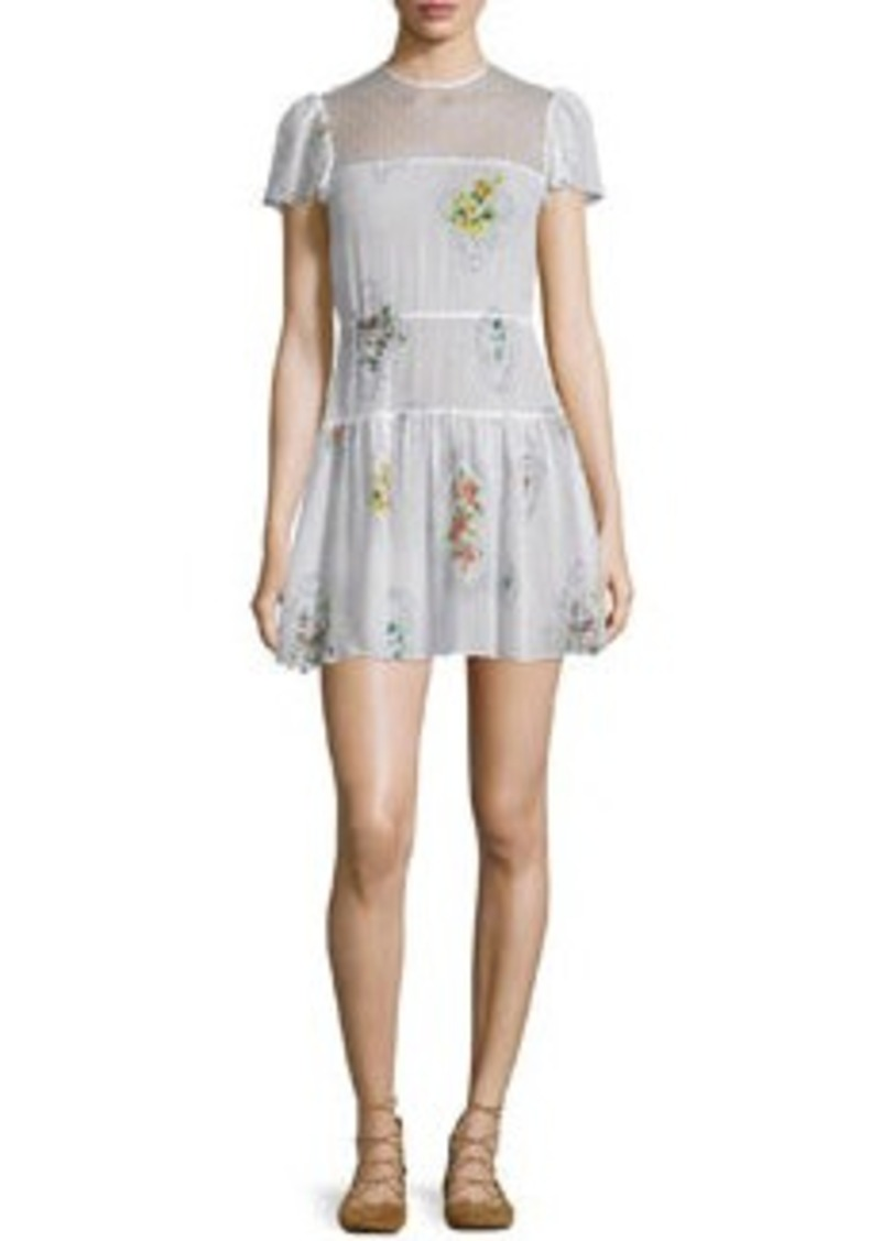 RED Valentino Short-Sleeve Framed-Floral Mini Dress