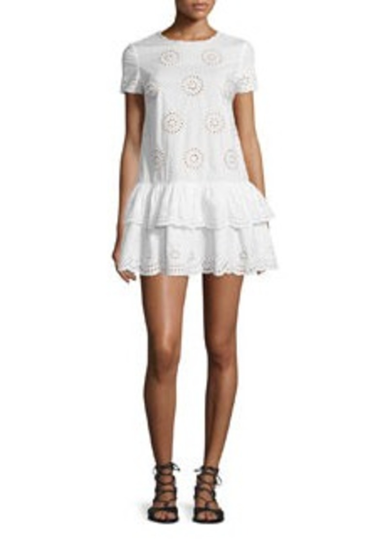 RED Valentino Short-Sleeve Layered-Hem Tunic Dress
