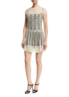 RED Valentino Basket & Floral Embroidered Dress