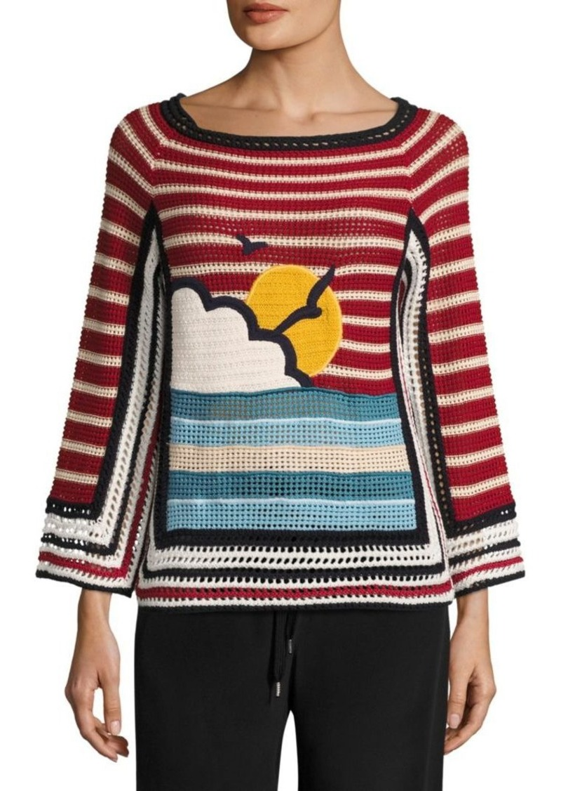 RED Valentino Beach Open Knit Cotton Sweater