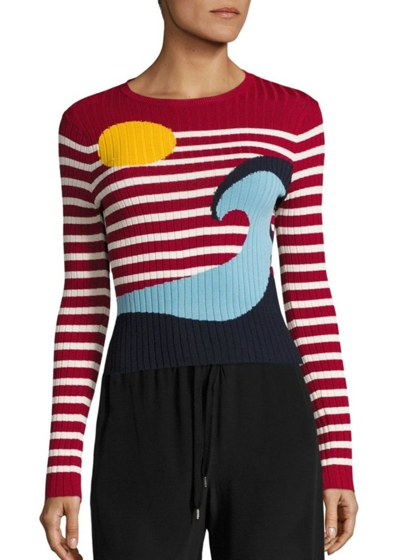 RED Valentino Beach Striped Rib-Knit Sweater