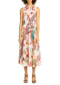 RED Valentino Bird & Floral Print Silk Midi Dress