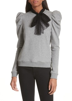 RED Valentino Bow Neck Puff Sleeve Sweatshirt