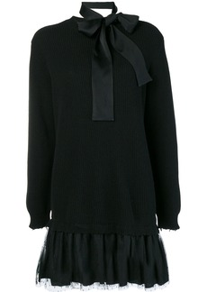 Red Valentino bow tie sweater dress - Grey