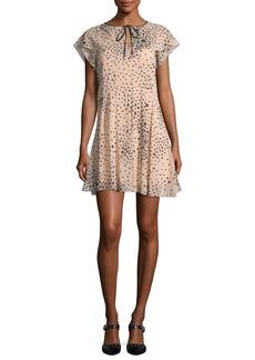 RED Valentino Cape-Sleeve Stardust-Print Stretch-Silk Dress