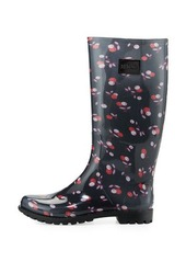 RED Valentino Cherry-Print Rubber Rain Boot