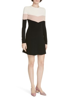 RED Valentino Colorblock Ribbed Fit & Flare Dress
