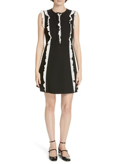 RED Valentino Contrast Ruffle A-Line Dress