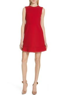 RED Valentino Contrast Stitch Ruffle Hem Minidress