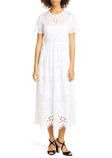 RED Valentino Cotton Eyelet Midi Dress