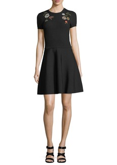RED Valentino Crewneck Short-Sleeve Knit Dress w/ Floral Embroidery