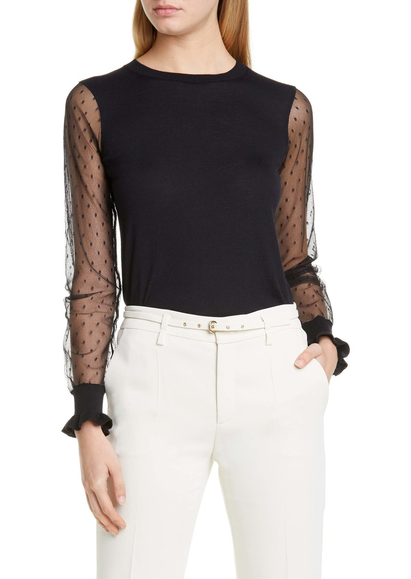RED Valentino Dot Tulle Sleeve Wool Blend Sweater