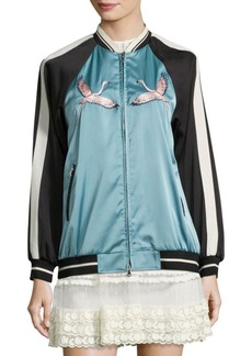 RED Valentino Embroidered Beach Bomber Jacket