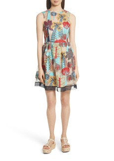RED Valentino Embroidered Fit & Flare Dress