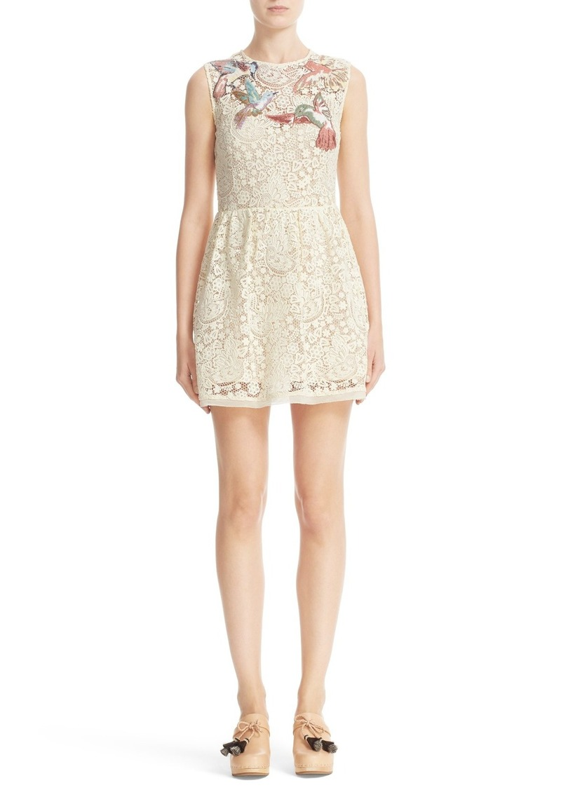 0a6439f5ad7 RED Valentino RED Valentino Embroidered Hummingbird Lace Dress