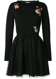 Red Valentino embroidered jumper-dress - Black