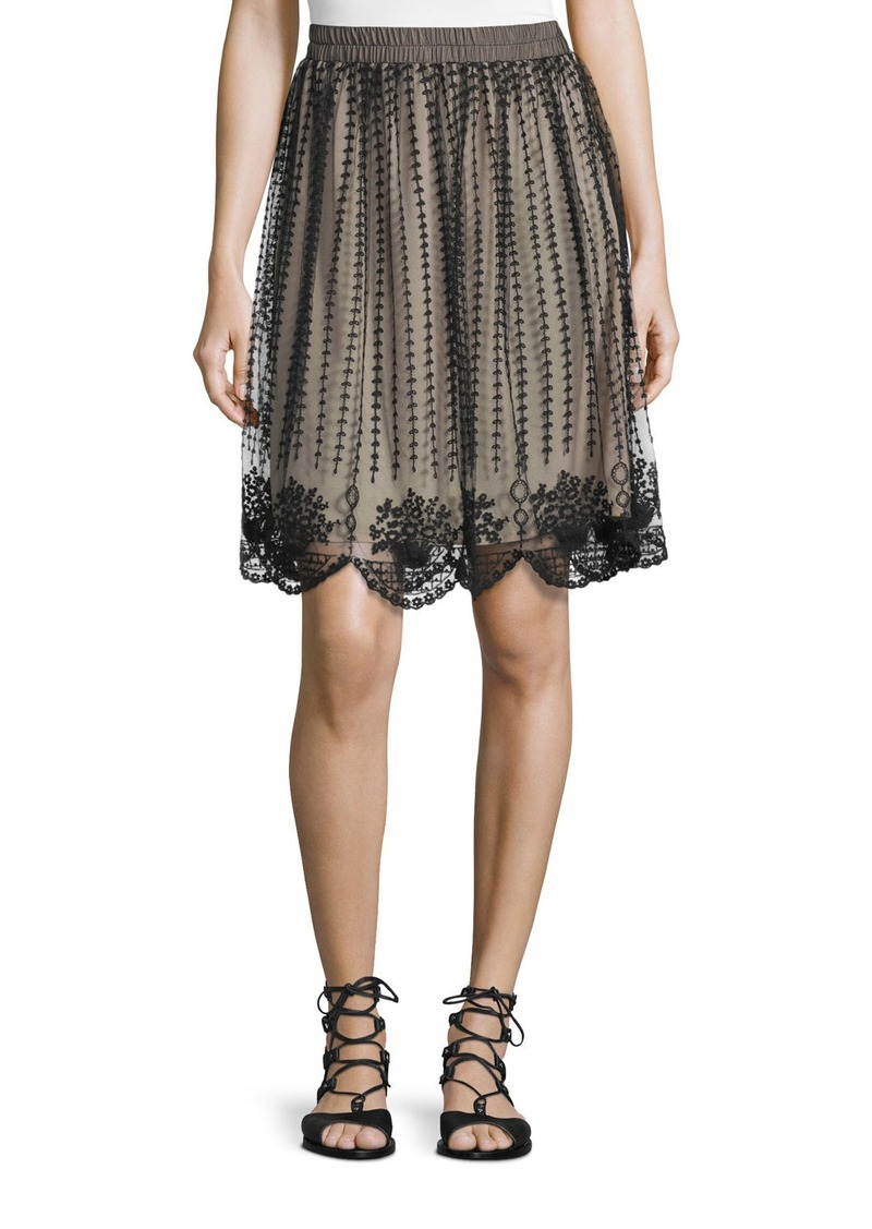 RED Valentino Embroidered Sheer-Overlay Skirt