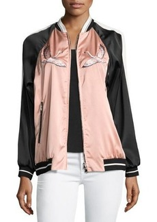 RED Valentino Embroidered Stretch-Satin Novelty Bomber Jacket