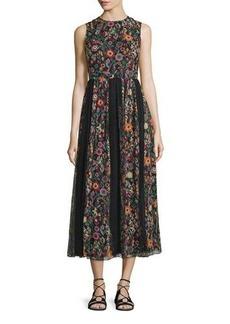 RED Valentino Fancy Flower Sleeveless Midi Dress