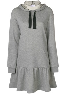 Red Valentino flared hem hoodie dress - Grey