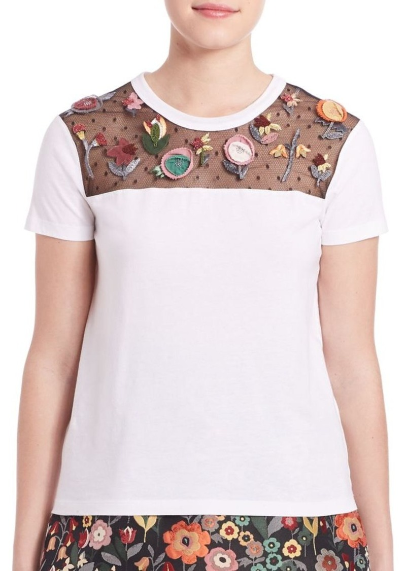 RED Valentino Floral Applique Tee