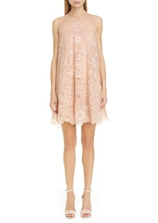 RED Valentino Floral Embroidered Point d'Esprit Shift Minidress