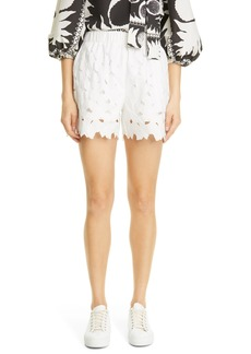 RED Valentino Floral Embroidered Poplin Shorts