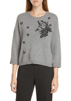 RED Valentino Floral Embroidered Sweater