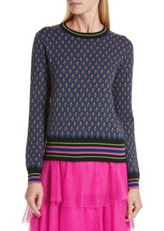 RED Valentino Floral Jacquard Wool Blend Sweater