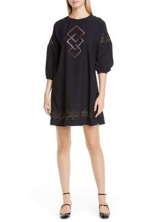 RED Valentino Geo Stitch Shift Dress