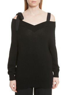 RED Valentino Grosgrain Bow Off the Shoulder Wool Sweater