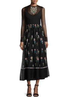 RED Valentino High-Neck Long-Sleeve Point D'esprit Embroidered Dress