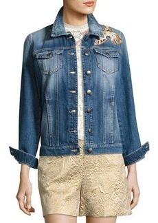 RED Valentino Hummingbird-Patch Denim Jacket