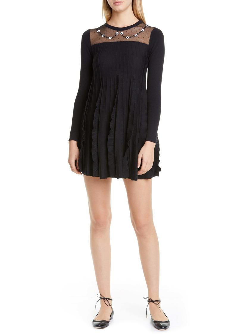 RED Valentino Illusion Yoke Ruffle Long Sleeve Wool Sweater Dress