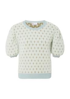 Red Valentino Jacquard-Knit Angora-Blend Sweater