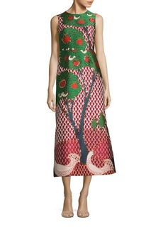 RED Valentino Jacquard Landscape Amarena Midi Dress