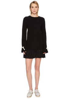 RED Valentino Knit Dress with Slit Sleeve Point D'Esprit Flounce