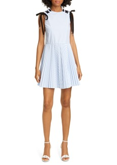 RED Valentino Lace Detail Stripe Minidress