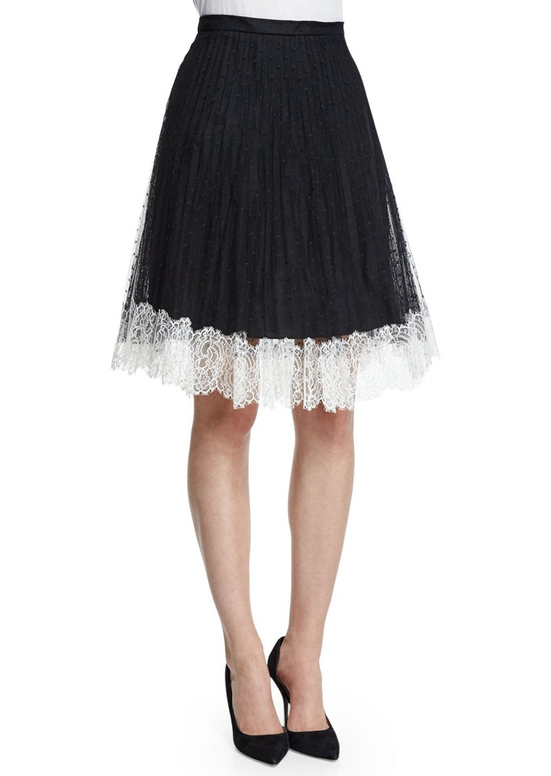 RED Valentino Lace Full Skirt W/Contrast Hem
