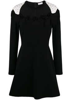 Red Valentino lace panel skater dress - Black