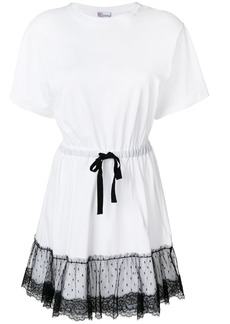 Red Valentino lace peplum hem T-shirt dress - White