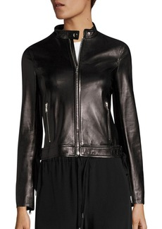 RED Valentino Lace-Up Leather Moto Jacket